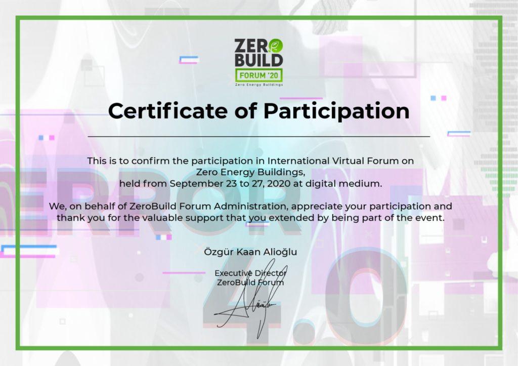 Zero Build 2020 Forum '20 Sertifikamız