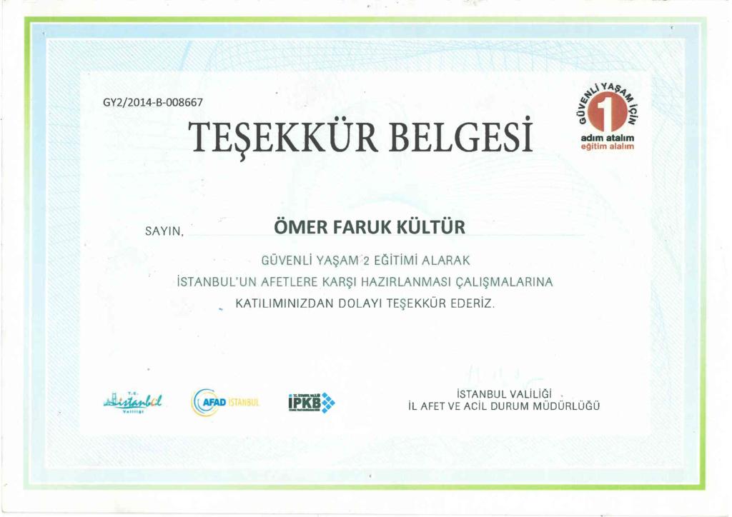 Yeryüzü Mühendisleri Derneği İstanbul Valliliği Teşekkür Belgesi sertifika